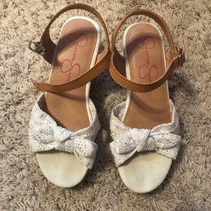 Jessica Simpson Girls cork heel sandals Size 3